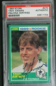 Troy-Aikman-8-Signed-ROOKIE-Card-1989-Score-270-HOF-Autographed-PSA