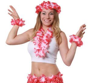 RED 4 PIECE HAWAIIAN LEI SET FLOWER NECKLACE HEADBAND BRACELETS FANCY DRESS