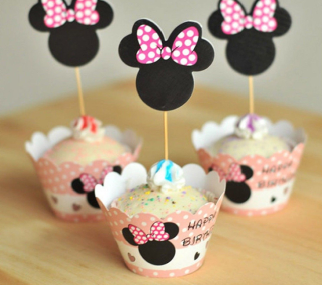 Minnie Mouse Cupcake Wrappers Birthday Baby Shower Party Decoration Supplies New