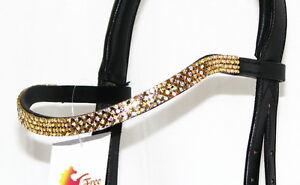 FSS 4 lignes Crystal forme courbe u bling gold Topaz AB métallique allemande Browband nouveau  </span>