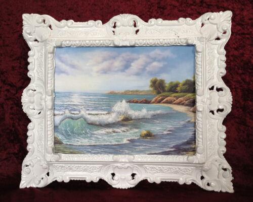 Gemälde See Strand Bild mit Rahmen 45X38 Bilderrahmen Silber Landschaftsbild