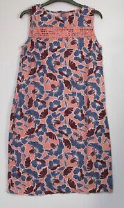 Next-Coral-Peach-Floral-linen-Blend-Summer-Holiday-Shift-Dress-Size-8-22