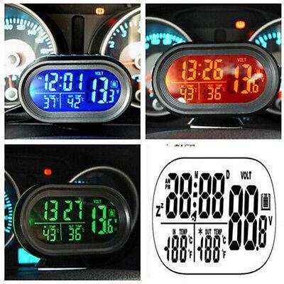 LED Dual Digital 2 Thermometer ℃ ℉Voltmeter Alarm Clock Gauge Sets Panels