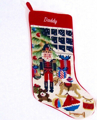 Christmas Stocking Monogrammed Daddy Needlepoint Santa & Toys Lands End 17.5 in.