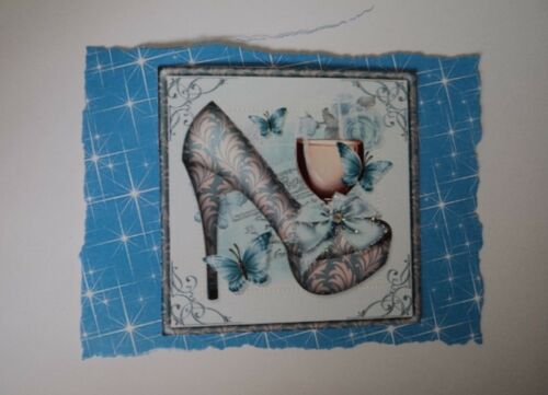 PK 2 BLUE SHOES /& PRESECCO EMBELLISHMENT TOPPERS FOR CARDS//CRAFT