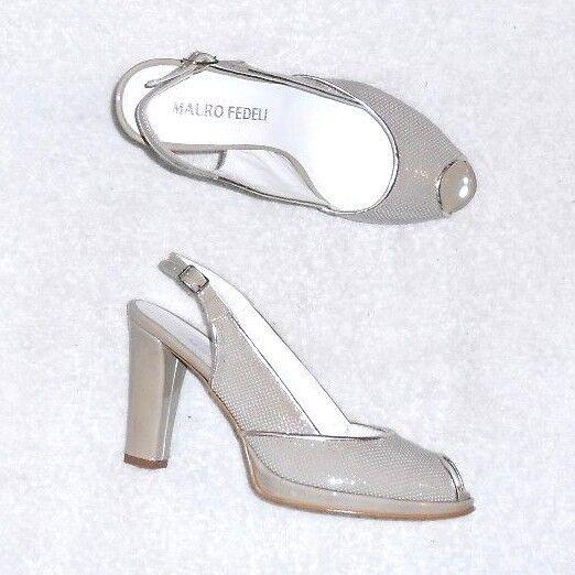 MAURO FEDELI  escarpins sandales cuir verni taupe clair P 38 neufs