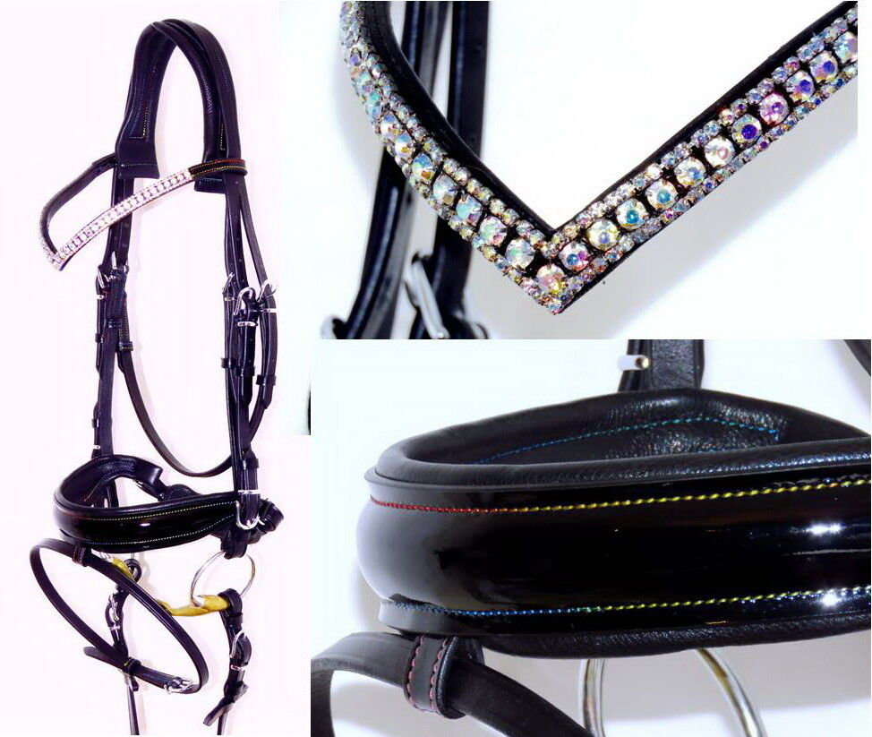 FSS RAINBOW HOLOGRAM SHIMMER CRYSTAL V AB BLING Freeform Comfort Cut Away Bridle