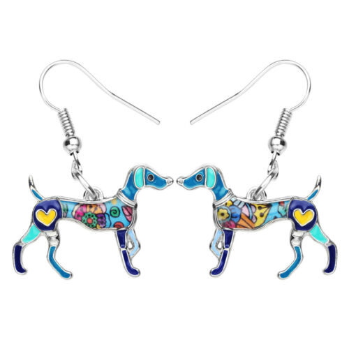 Enamel Alloy Elegant Whippet Dog Earrings Big Dangle For Women Pet Jewelry Charm