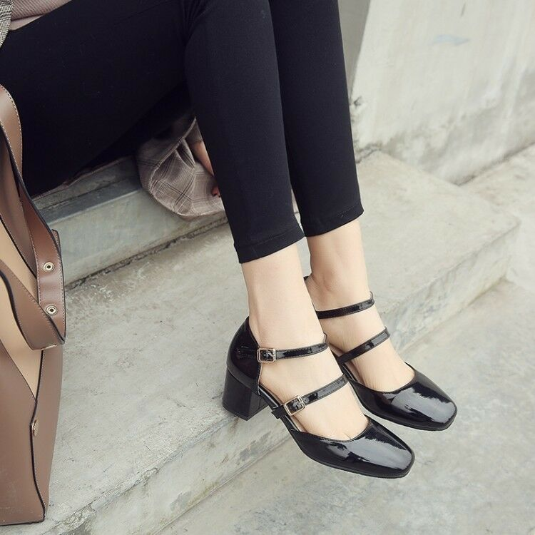 Fashion Women's Patent Leather Chunky Heels Square Toe Buckle Pumps Casual shoes
