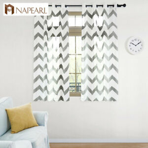 Details about NAPEARL 1 Panel Wavy Striped Kitchen Curtains White Sheer  Grommet Short Drapes