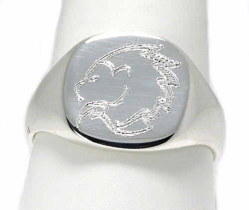 925 Silver 14X14MM Custom Engraved Horoscope Zodiac Sign Men/'s Ring Size 9