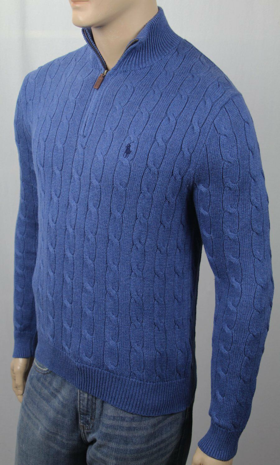 POLO Ralph Lauren Blau Cable Knit 1/2 Half Zip Sweater Navy Pony NWT