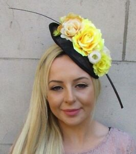 Navy Blue Cream Yellow Flower Feather Sinamay Disc Saucer Hat Fascinator 5970