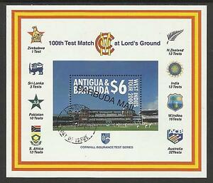 BARBUDA-MAIL-OPT-2000-LORD-039-S-CRICKET-100th-CENTENARY-TEST-MATCH-Souv-Sheet-USED