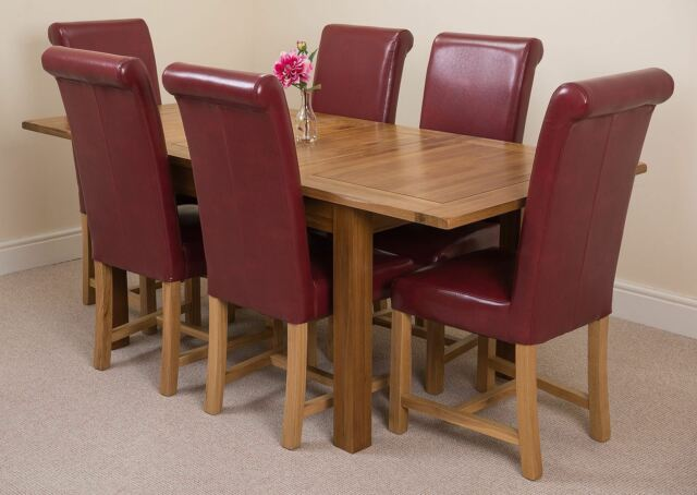 Cotswold Rustic Oak 132cm Extending Dining Table 6 Brown Washington Chairs Burgundy