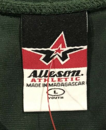 Alleson Athletic Youth Dark Green Football Jersey Shirt Sz Large RN 80185 LBB76