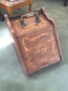 Antique English Inlaid Wood Coal Bin