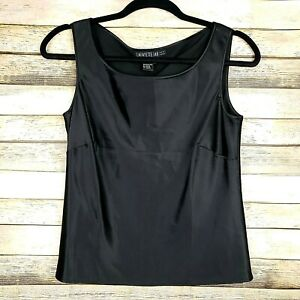 Lafayette-148-New-York-Black-100-Silk-Sleeveless-Blouse-Tank-Top-Size-2