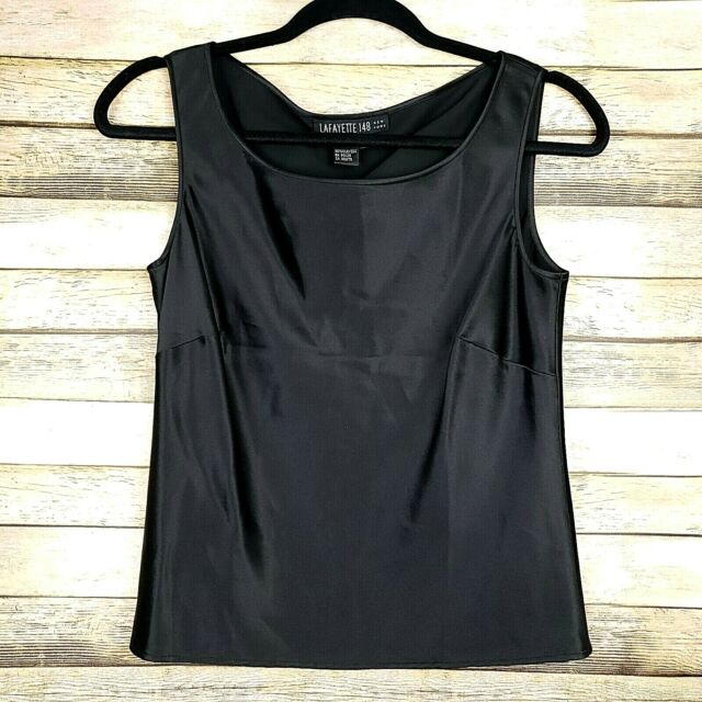 Lafayette 148 New York Black 100% Silk Sleeveless Blouse Tank Top Size 2