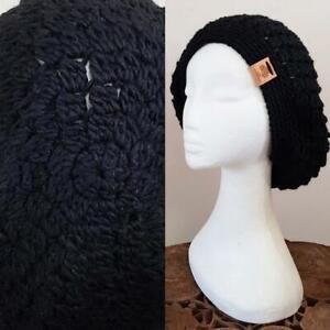 Sur De Soi Vintage Tam Handmade Crochet Tricot 40 S Landgirl Boho Noir Alpaga Laine Béret Chapeau-afficher Le Titre D'origine Ture 100% Garantie