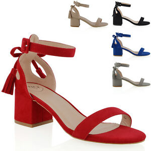 Womens Ladies Cut out Low Mid Chunky Heel Ankle Strap Bow Summer Sandals Shoes