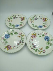 Mikasa-Country-Classics-HEIRLOOM-Salad-Plates-4-Butterfly-Flowers-Fine-China