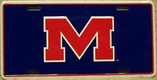 "NCAA Aluminum License Plate University of Mississippi Ole Miss Rebels ""M"" NEW"