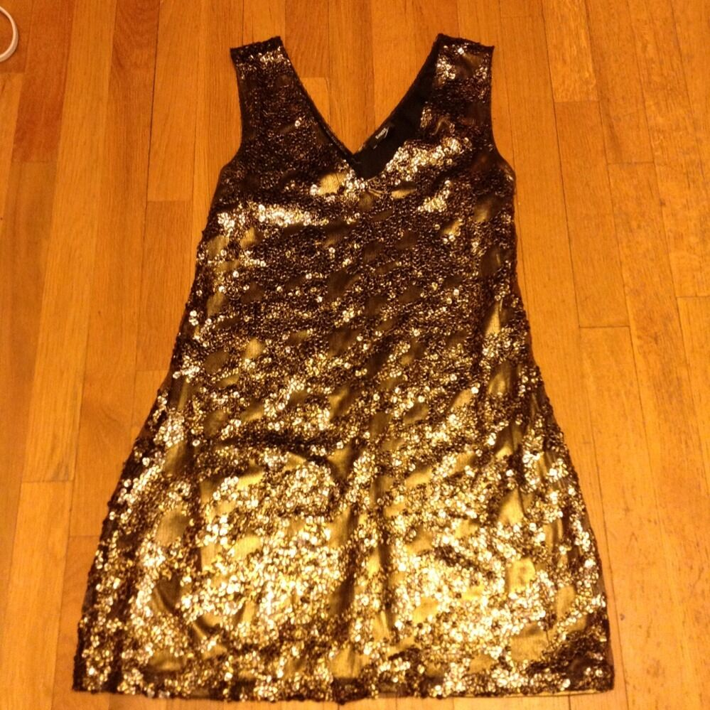 Express golden Sequenses Very Cute Party Dress Sz M