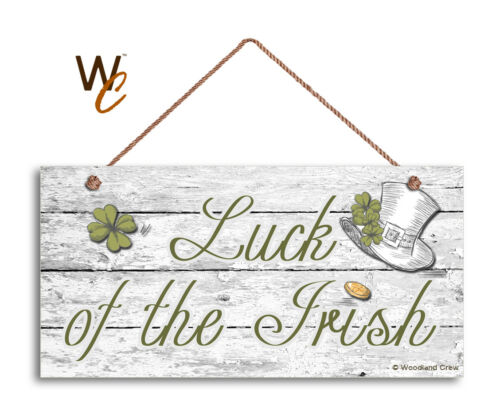 Luck of the Irish Sign Shamrocks Front Door Sign Holiday Rustic 5x10 Sign