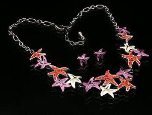 Modern-art-red-pink-seastar-star-fish-resin-beads-chain-necklace-earrings-N35