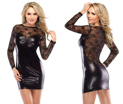 DARQUE SEXY GOTHIC FETISH DOMINATRIX VINYL RUBBER PVC DANCER LACE DRESS D9251