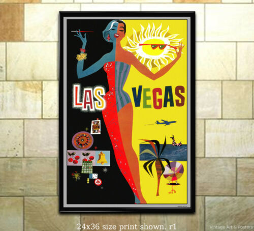 Vintage Airline Travel Poster 6 sizes, matte+glossy avail Las Vegas