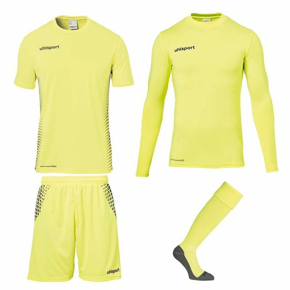 Uhlsport Score Torwart Set Kinder Fußball Trikot Hose Baselayer Stutzen gelb