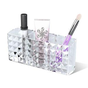 makeup brush holder organizer 3 slot acrylic cosmetics