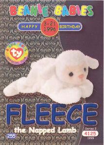 TY Beanie Babies BBOC Card - Series 2 Birthday (BLUE) - FLEECE the Napped Lamb