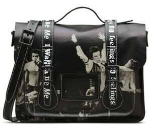 30ba514bcdc Dr Martens 13 inch Smooth leather satchel Black Rare SEX PISTALS ...