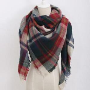 f7f033ca74436 Women's Plaid Blanket Scarf Red and Navy Tartan Wrap Large | eBay