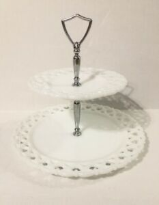 Glass Lace 2 Tier Serving Tray