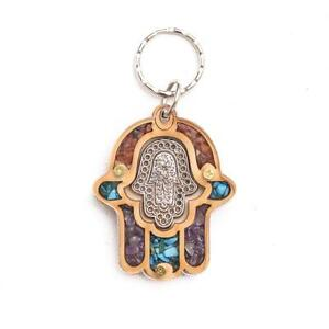 Decorative-Gift-Hand-Of-Fatima-Miriam-Wooden-Evil-Eye-Lucky-Hamsa-Key-Ring-Chain