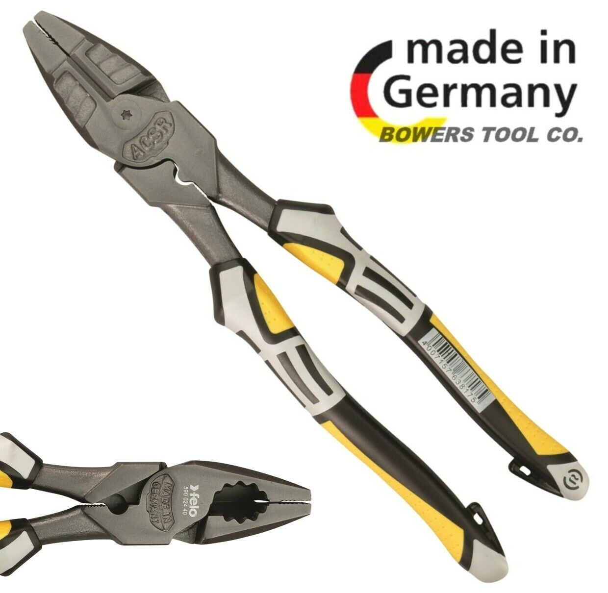 Felo 9  Lineman's Pliers w Fish Tape Cable Puller Crimper Comfort Grip & Tether