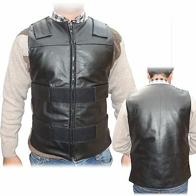 ARD CHAMPS Mens Leather 10 Pockets Motorcycle Biker Vest New All Sizes 2XL