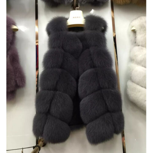 Fox 100 Length Fur Gilet Blue 75 Genuine Cm Lagopus vulpes Real wAOrqRAxX