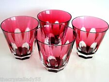 AJKA  LAUSANNE CRANBERRY CASED CUT TO CLEAR CRYSTAL WHISKEY DOF ROCKS Set of 4