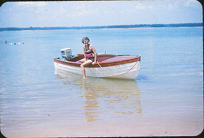 1959 Woman in Swimsuit on Boat @ Lake/Beach - Original 35mm Slide