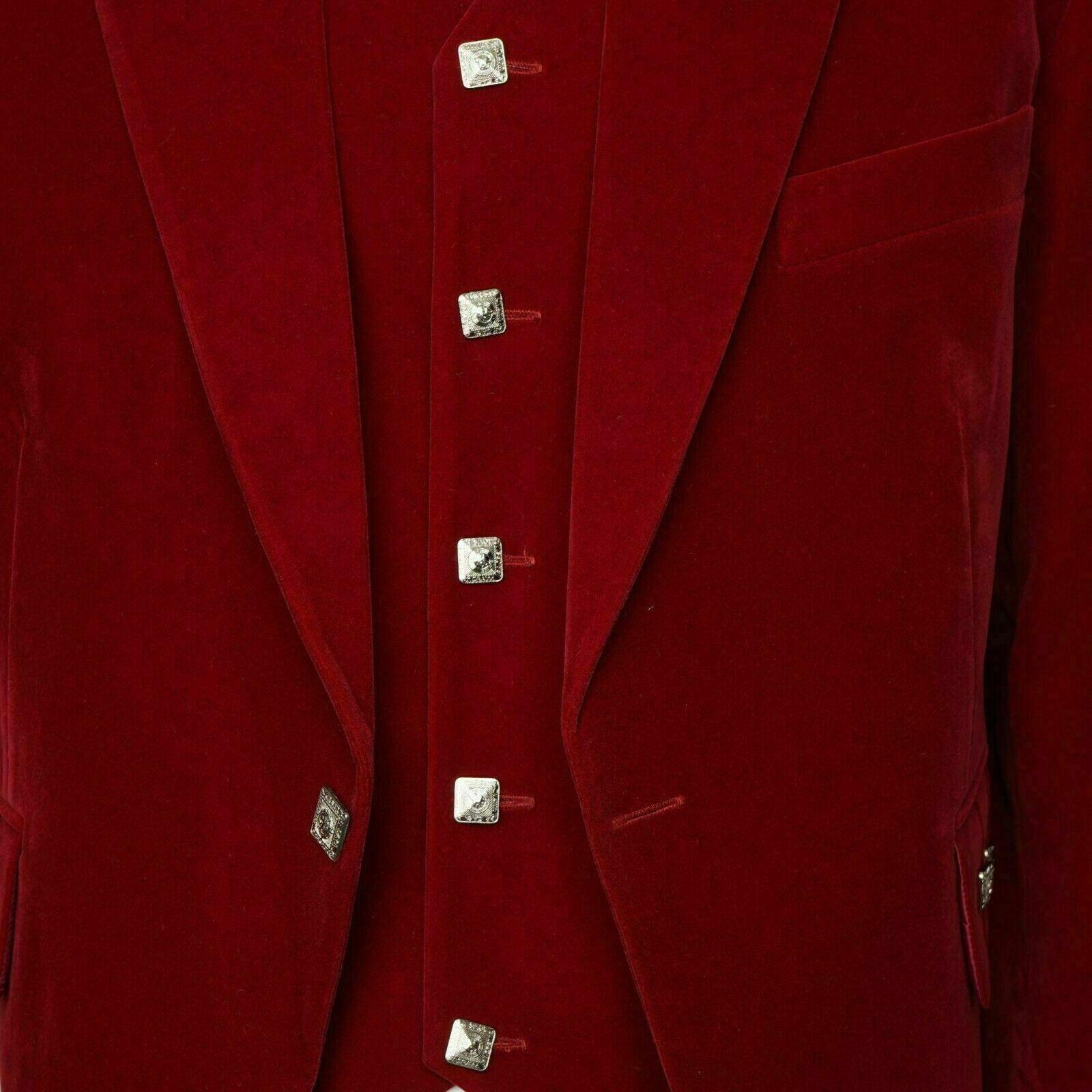 Mens RED Velvet Scottish Highland Argyle kilt Jacket & Waistcoat