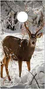 Deer in Snow LAMINATED Cornhole Wrap Bag Toss Skin Decal