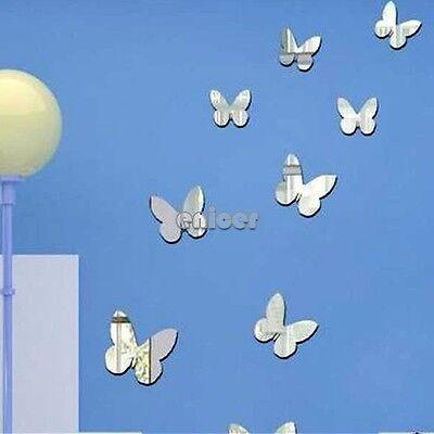 25PCS 3D Butterfly Espejo Acrílico Decal Room Decoración Pegatinas Pared ENE