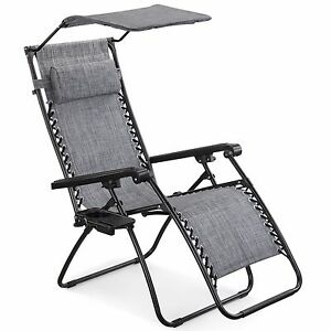 Image Is Loading VonHaus Textoline Zero Gravity Chair Canopy Sun Lounger