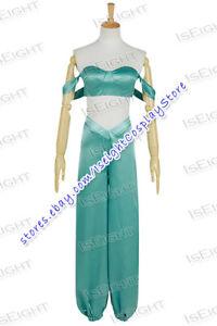 Image is loading Aladdin-And-His-L&-Cosplay-Princess-Jasmine-Costume-  sc 1 st  eBay & Aladdin And His Lamp Cosplay Princess Jasmine Costume Green Blue ...