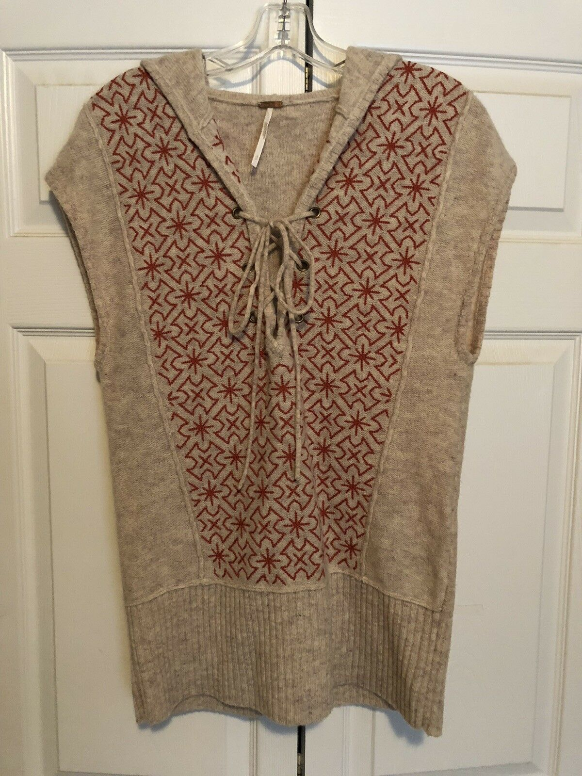 FREE PEOPLE Wool Sweater Vest Hood Tie Embroidered S EUC